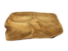 "Hand-Crafted Root Wood Live Edge Divided Platter (17-19"" x 2"")"