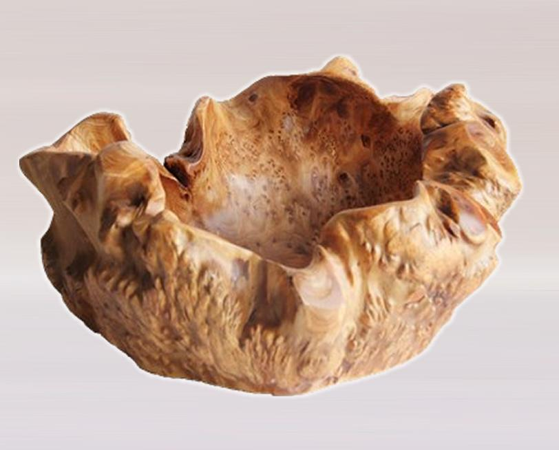 Hand-Crafted Root Wood Live Edge Party Bowl - Small (12-13