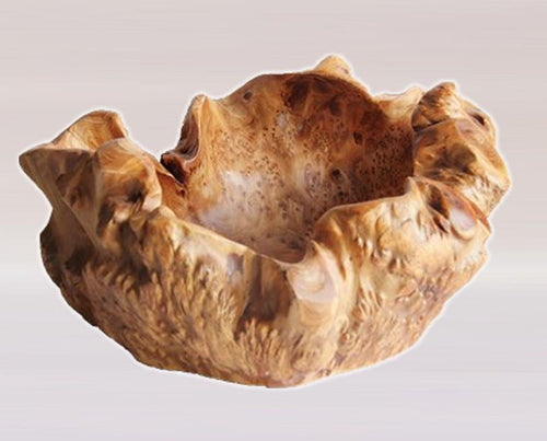 Hand-Crafted Root Wood Live Edge Party Bowl - Large (16-17