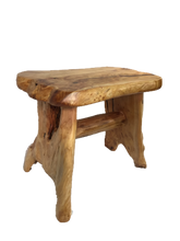 "Hand-Crafted Root Wood Live Edge Bench - Small (L 20"" / H 18"")"