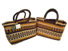 Handwoven Seagrass Reusable Shopping Bag for Grocery, Gardening, Picnics and More (pattern 11639: yellow/brown)