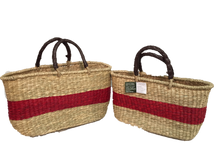 Handwoven Seagrass Reusable Shopping Bag for Grocery, Gardening, Picnics and More (11642R: natural with red stripe)
