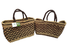 Handwoven Seagrass Reusable Shopping Bag for Grocery, Gardening, Picnics and More - Set of 2 (diamonds: black on natural)