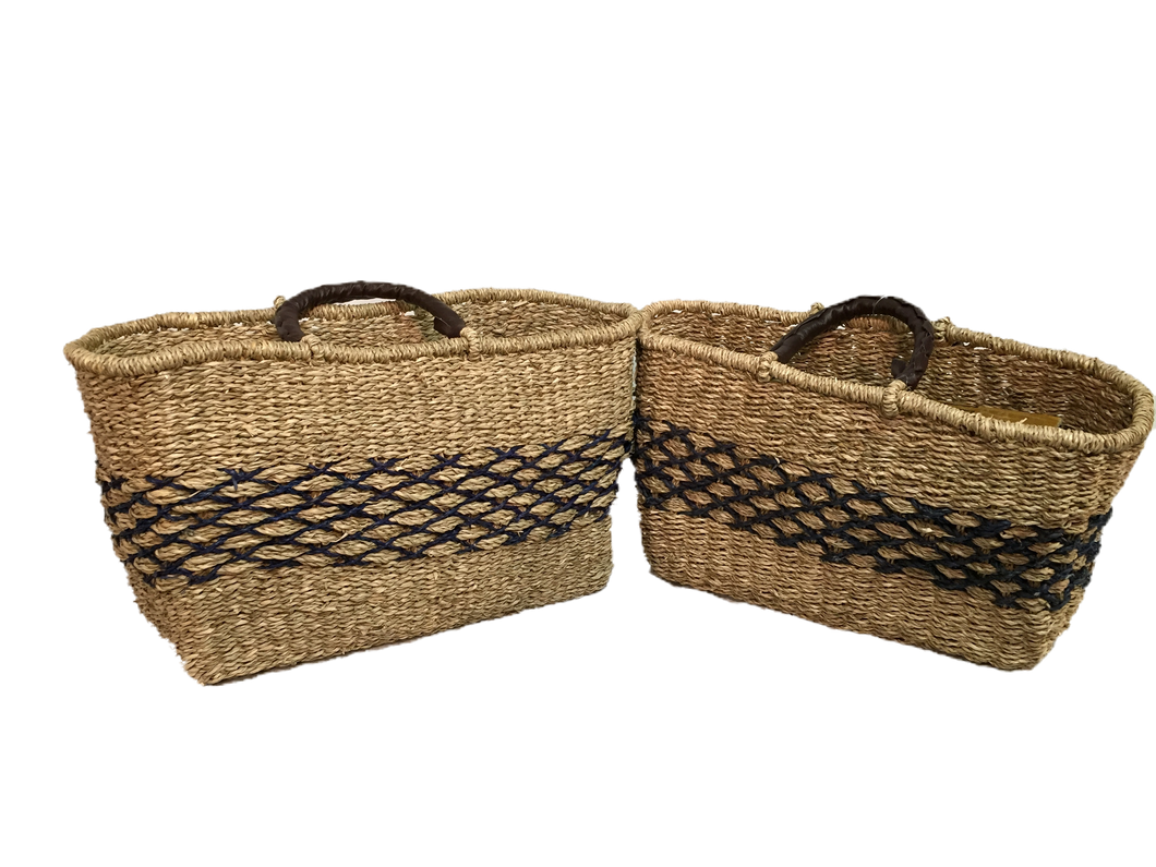 Handwoven Seagrass Reusable Shopping Bag for Grocery, Gardening, Picnics and More - Set of 2 (natural with blue diamonds)