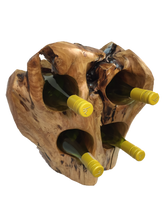 "Hand-Crafted Rood Wood Live Edge Wine Stump - 4 bottle (16-24"" / 8-12"")"