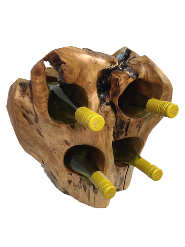 Hand-Crafted Rood Wood Live Edge Wine Stump - 4 bottle (16-24