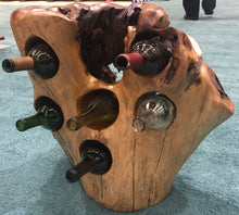 "Hand-Crafted Rood Wood Live Edge Wine Stump - 6 bottle (20-28"" / 12-16"")"