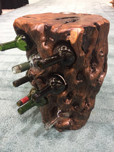 "Hand-Crafted Rood Wood Live Edge Wine Stump - 8 bottle (Date Wood) (24-30"" / 14-16"")"