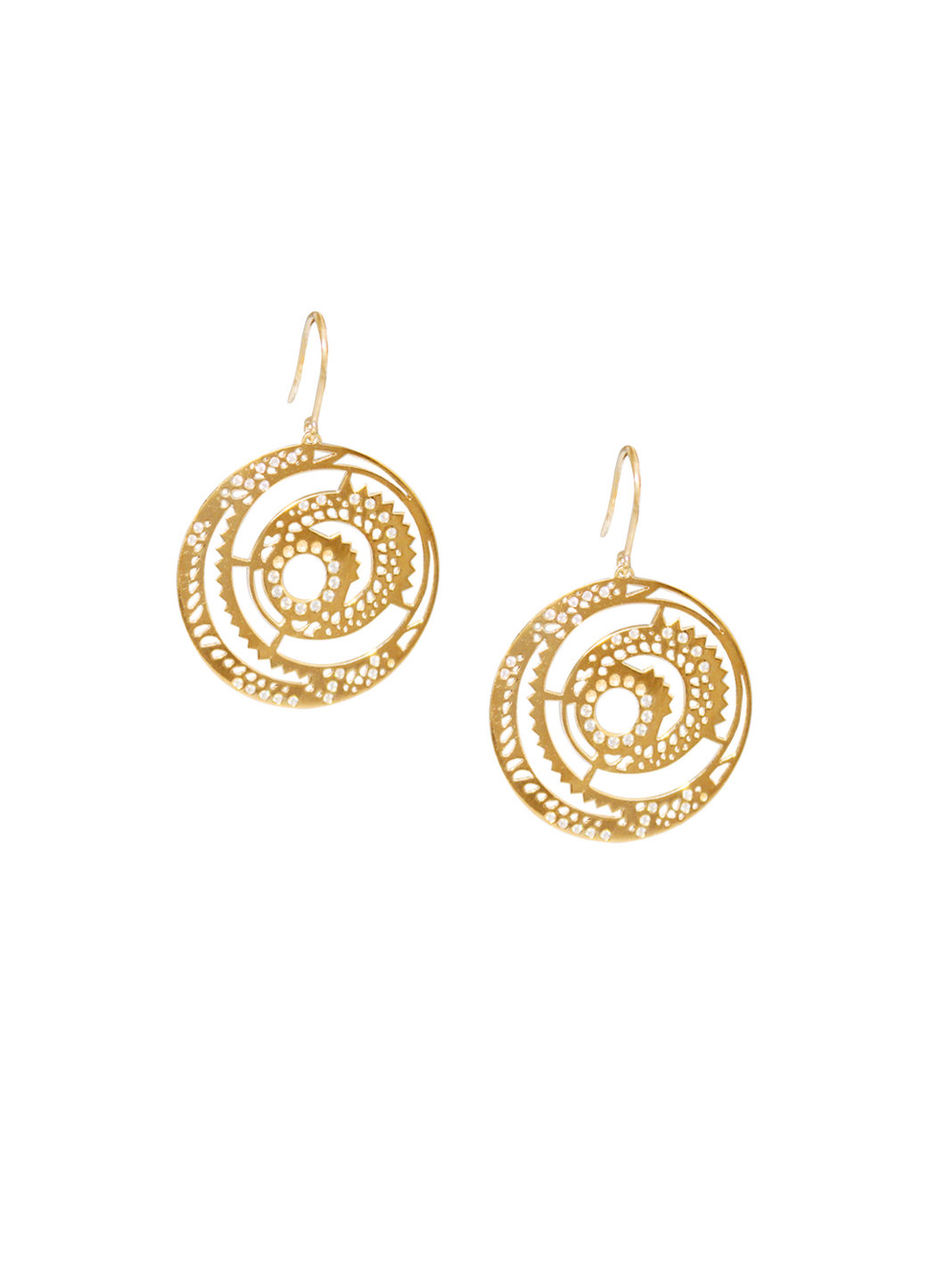 Ascend Hanging Disc Earrings with Diamonds