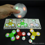 017 LED Light Up Hand Spinners Fidget Spinner Top Quality Triangle Finger Spinning Top Colorful Decompression Fingers Tip Tops Toys