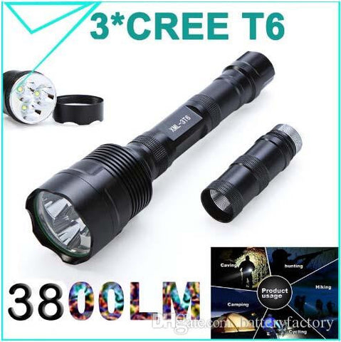 100% Original Trustfire 3800 Lumens 3*CREE T6 LED Flashlight 5Modes Waterproof Torch Zoomable Linternas Light for 2 or 3 x18650 Super bright