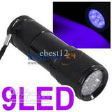 100pcs UV Ultra Violet Blacklight 9 LED Flashlight 100%New High quality