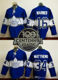 100th leafs 2017 Draft #16 MARNER/#34 Matthews Blue 2017 winter classic Hockey Jerseys Stitched Mix Order