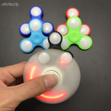 10pcs/lot DHL Free Shippin LED Light Fidget Spinner Finger ABS EDC Hand Spinner Tri For Kids Autism ADHD 5 Styles Anxiety Stress