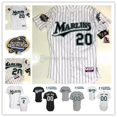 2003 Florida Marlins world series white 20 Miguel Cabrera gray 34 A.J. Burnett 2 Hanley Ramirez 7 Ivan Rodriguez black baseball jersey