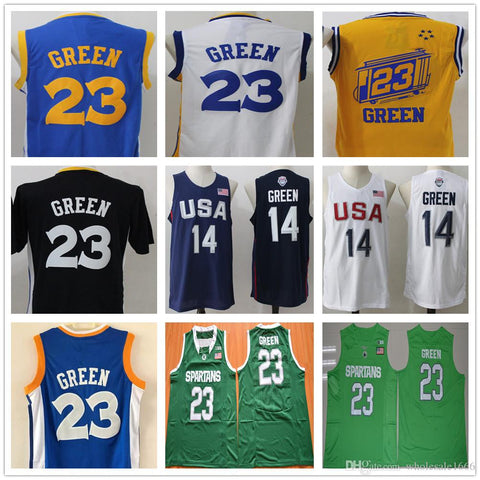 2017 Cheap 23 Draymond Green Men Stitched Basketball Jerseys Short Sleeve The City blue,black,white,yellow USA Dream Team 14 Draymond Green