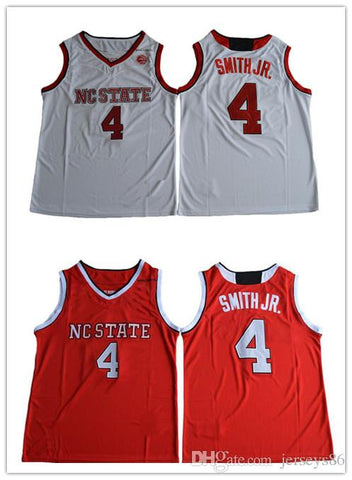 2017 College Dennis Smith Jr Basketball Jerseys NC State Wolfpack Stitched Red White Mens 4 Dennis Smith Jr. University Jerseys Wholesale
