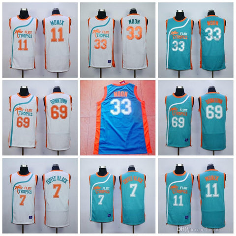 #33 JACKIE MOON Flint Tropics Semi Pro Movie Basketball Jerseys 69 DOWNTOWN 7 COFFEE BLACK ED MONIX 11 ED MONIX TWIGGY MUNSON VAKIDIS