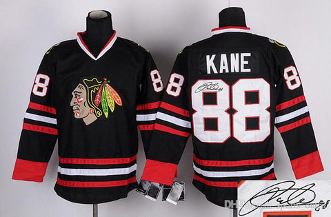 Blackhawks #88 Patrick Kane Autographed Hockey Jerseys Black Ice Hockey Jersey Brand Hockey Wear Embroidered Athletic Team Uniforms for Men