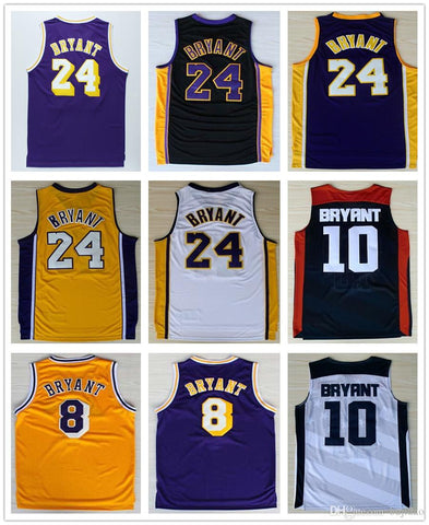 Cheap #24 Kobe Bryant Jersey Purple White Black Yellow Throwback #8 Kobe Bryant Lower Merion High School Basketball Jerseys Free Shipping