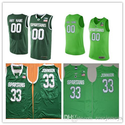 Custom Mens Michigan State Spartans College Basketball Apple Green 23 Personalized Stitched Any Name Any Number 33 Johnson Jerseys S-3XL