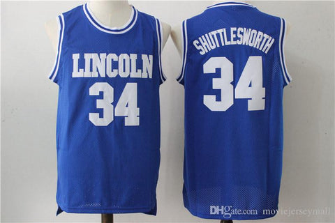 Jesus Shuttlesworth Ray Allen #34 Lincoln He Got Game Movie Jersey White blue basketball Shirts