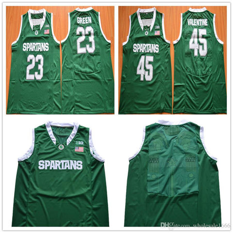 Michigan State Spartans Green Basketball Jerseys Stitched S-3XL 14 Eron Harris 22 Miles Bridges 23 Draymond Green Custom Any Name Any Number