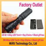 10pcs/LOT Ultra Bright Mini Aluminum Handy LED Cree Flashlight Waterproof Torch Portable Q3 Chip outdoor Light+Key chain + Black gift box