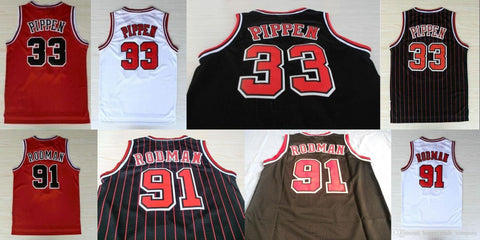 Top quality Chicago Men's Throwback 33 Scottie Pippen Jerseys Retro 91 Dennis Rodman White Red bulls Black with red stripe Embroidered Logos