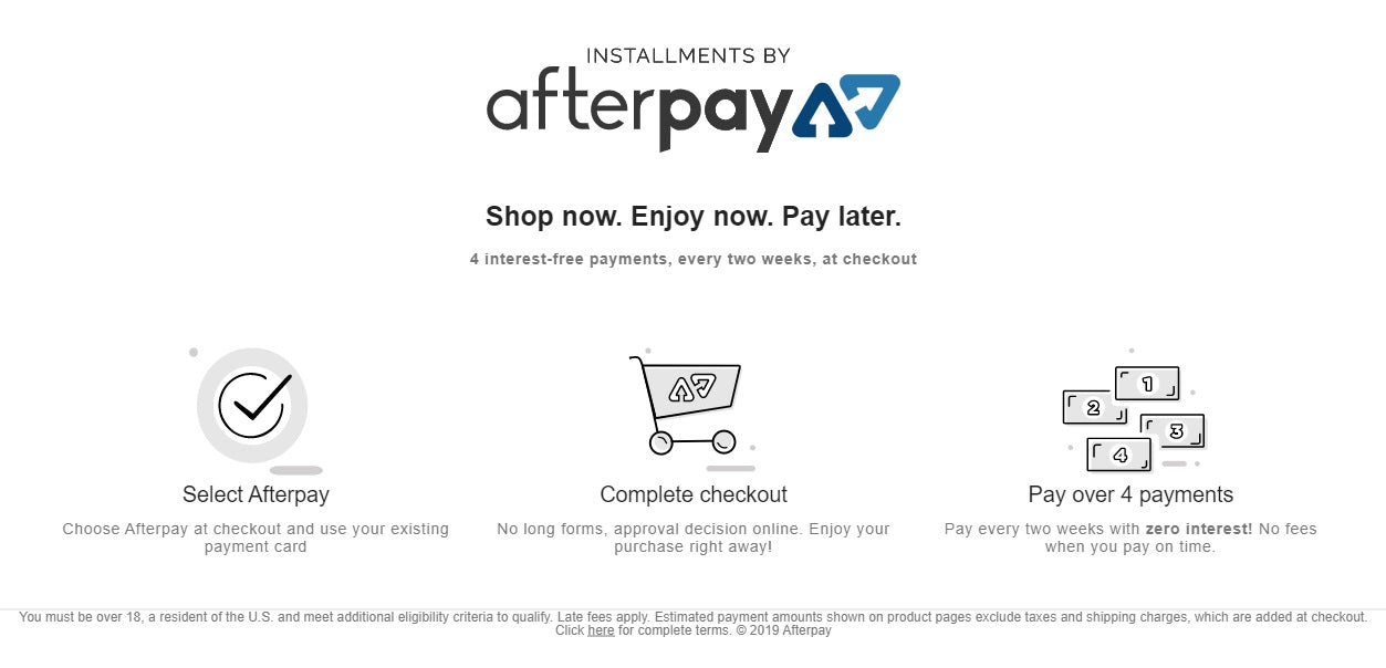 shop now pay later with after pay