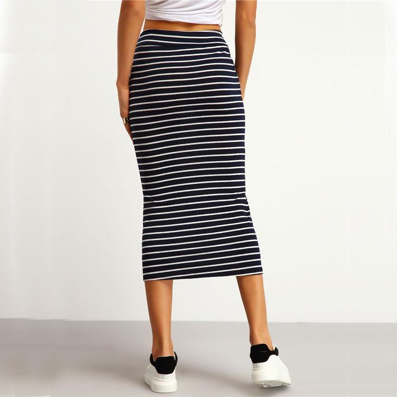 Navy Striped Twin Pocket Skirt -  - MySwaggs