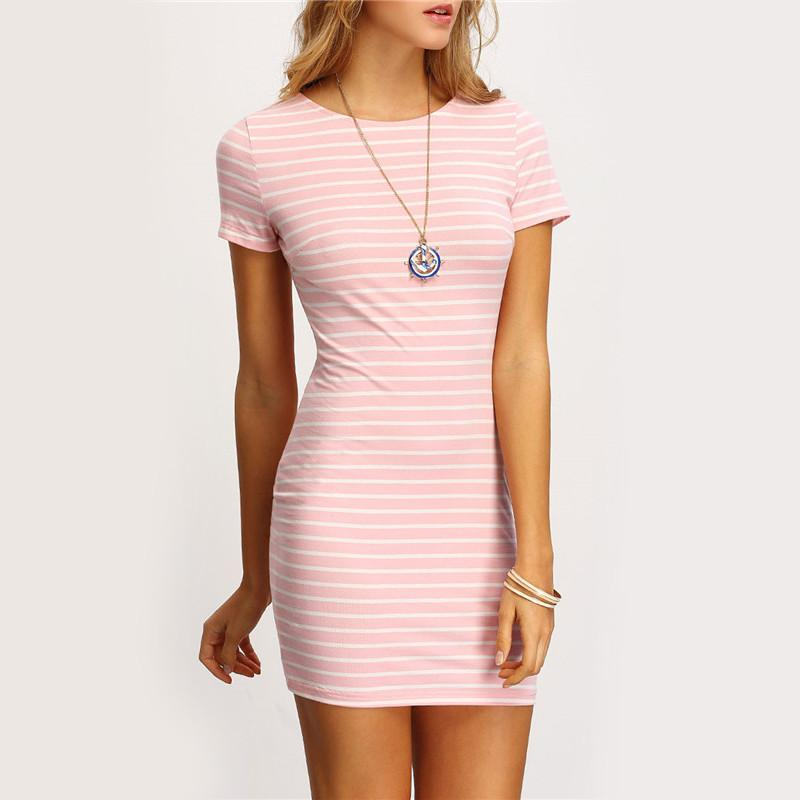 Pink Crew Bodycon dress -  - MySwaggs