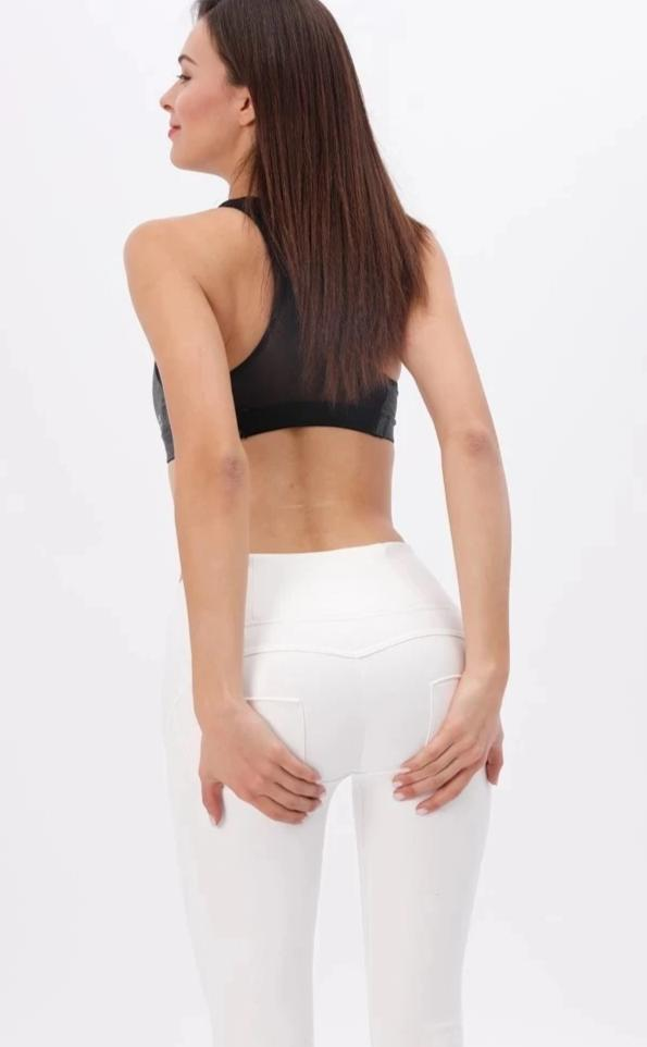 Booty push-up white high waist pants