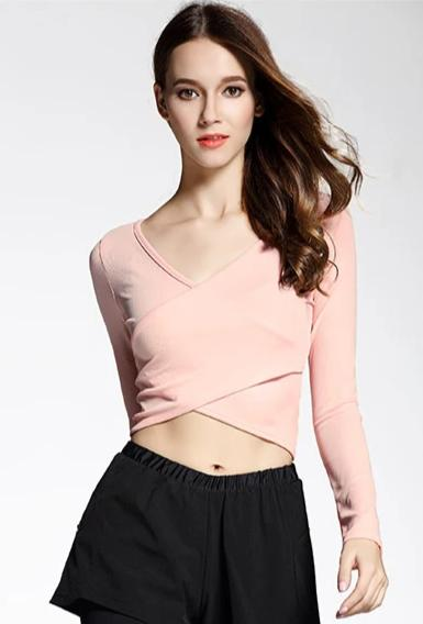 Crossed Pink Crop top