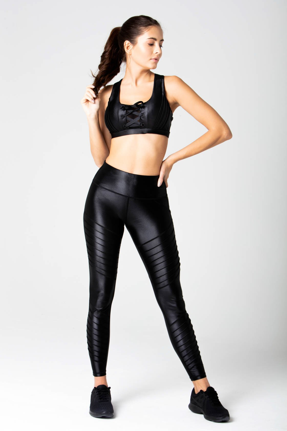 Moto panels liquid black legging