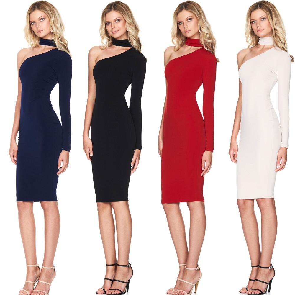 Kimberly One Shoulder Halter Bodycon dress -  - MySwaggs