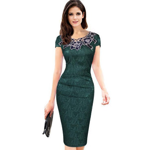 Isabella Embroidery Elegant bodycon dress -  - MySwaggs