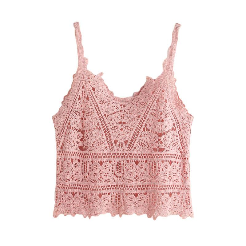 Pink Crochet Cami Top -  - MySwaggs