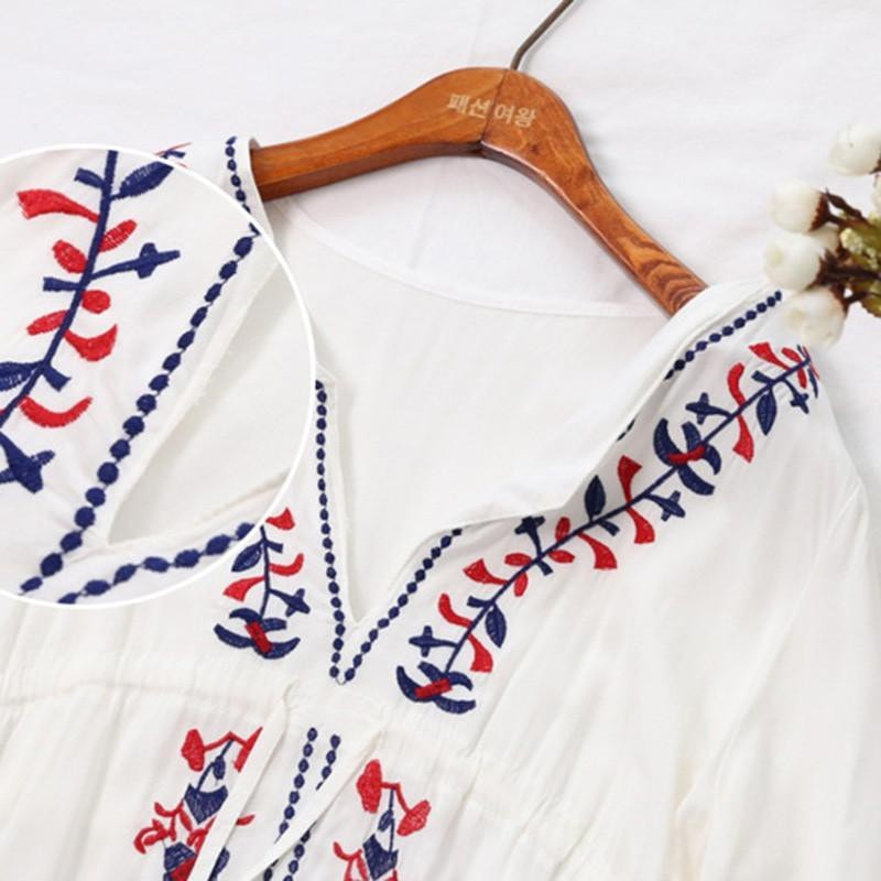 Floral Embroidery light summer Tunic - beachwear - MySwaggs