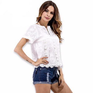 Olivia Lace Wave T-shirt -  - MySwaggs