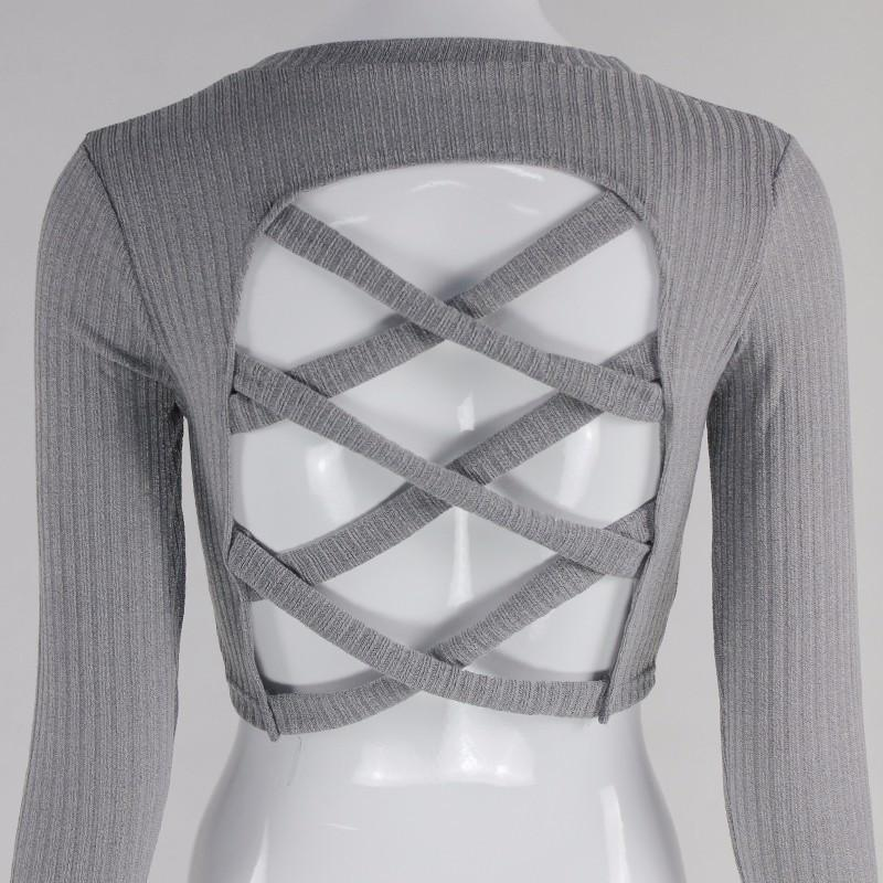 Casual T Shirt Knitted Cross Bandage - top - MySwaggs