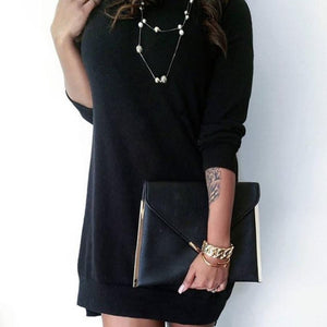 Autumn Winter Elegant Casual Black Dress: - dress - MySwaggs