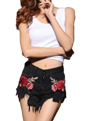 Flower Embroidery Black denim -  - MySwaggs