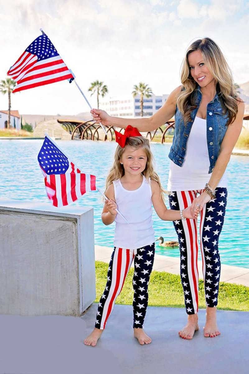 Mom&Girl USA flag leggings -  - MySwaggs
