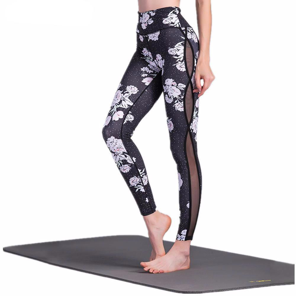 Flower Mesh Printed Yoga Legging