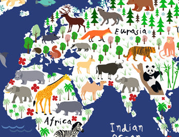 Animal World Map Canvas Print