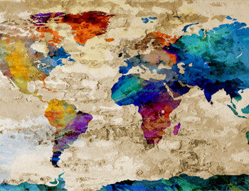 Watercolor Giclee World Map Canvas Prints
