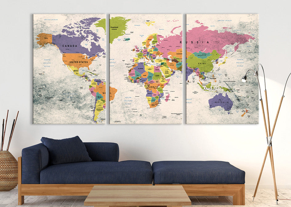 About us large wall push pin world map canvas and poster prints large wall art world map gumiabroncs Choice Image
