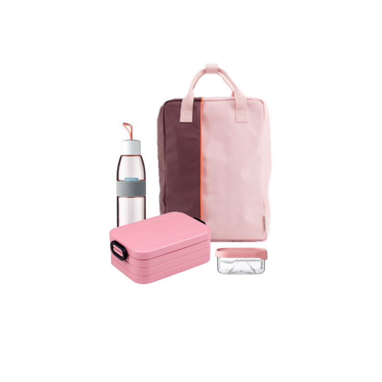 Offer - Sticky Lemon Backpack, bento & water bottle - Egg plant/Nordic Pink