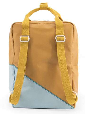 Large backpack diagonal caramel fudge / light blue - Sticky Lemon